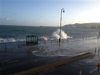 Coastal areas deserted at high tide - picture