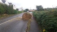 Tractor sheds hay bale in Ramsey - picture